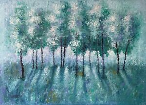 Landscape abstract tree oil painting on a large canvas. 50x70cm