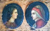 2 portraits à l'huile sur panneau