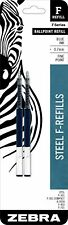 Zebra F-Series Ballpoint Stainless Steel Pen Refill, Fine Point, 0.7mm Blue Ink