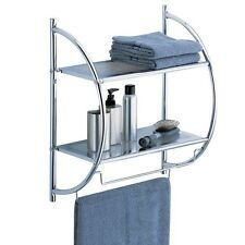 Bathroom Organizer Shelf Towel Holder Bar 2 Tier Bath Wall Rack Linen Door Stand