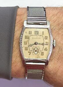 Gorgeous Vintage 1920s Bulova Barrel Shape Watch 10AN 15J Runs/Stops Gemex Band