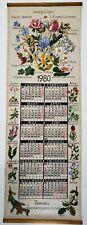 Vintage 1980 Sweden Linen Hanging Fabric Calendar Vivid Florals Great Condition