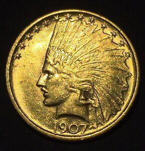 1907 GOLD $10 INDIAN HEAD EAGLE No Motto Gold Coin