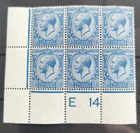 GV R.CYPHER 1914 E14 2.5d. CONTROL BLOCK OF SIX FRENCH-BLUE LMM/UM