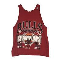 Vintage 1992 Logo 7 Chicago Bulls Back 2 Back NBA World Champions Tank Top Large