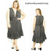 Haute Plus Size Gothic Black Low Neck Ruffle Pinstripes Midi Dress 1X 2X 3X 4X