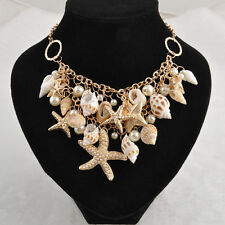 Ladies Chunky Sea Shell Starfish Pearl Bib Statement Necklace Luxury Jewelry AU