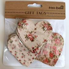 15 Heart Shaped Retro Vintage Rose Floral Message Luggage Label Gift Tags