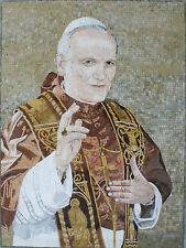 Sweet Saint Jean Paul II Religious Christian Figure Marble Mosaic FG917