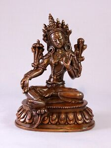 Nepalese Handcrafted Antiqued Copper Green Tara Statue(4inches)