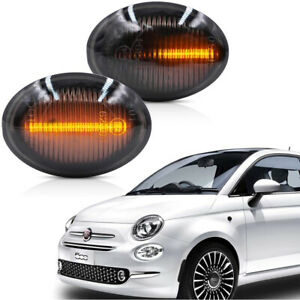 2X Sequential LED Side Marker Blinker Signal Light For Fiat 500 500e 500c Abarth