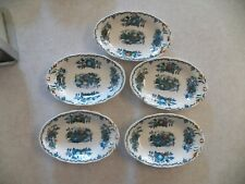Vtg Masons Ironstone Blue Fruit Basket Set of 5 Oval Bowls Plates Transferware