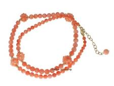 "GENUINE PINK CORAL BALL STRAND NECKLACE SOLID 14K YELLOW GOLD 16""+1.5"""