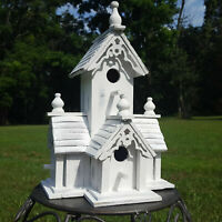 Birdhouse Whitewashed Distressed White Chapel Church Bird House with Clean Out