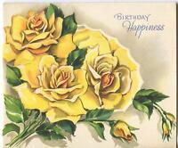VINTAGE YELLOW GARDEN FLOWERS ROSES BUDS BOTANICAL BIRTHDAY GREETING CARD PRINT