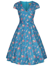 LINDY BOP  NWT Dawn Dress - Turquoise Vintage Rose - UK 26