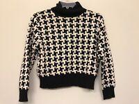Pendleton Womens LARGE Turtleneck Sweater Cotton Geometric Black White Q20