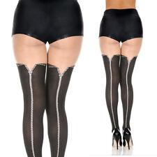 Black Faux Zip Up Pattern Fake Thigh Hi Sheer Tight Pantyhose Costume Stockings