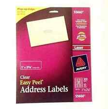 "AVERY® 55660/15660 Clear Easy Peel Address Labels 1"" x 2-5/8"" Laser 300/Pack"