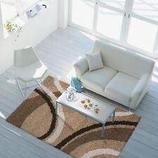 Hochflor Langflor Teppich Shaggy  Halbkreise 2 Farben braun & grau