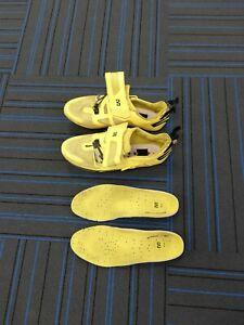 Mavic Cosmic Triathlon Shoes Yellow, with Straps, UK 8.5 EU 42 3/4 free cleats