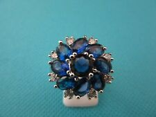 925 Sterling Silver Ring With Blue And White Quartz UK P 1/2, US 8 (rg1651)