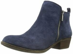 Lucky Brand Women's Basel Bright Blue Navy Suede Low Cut Ankle Booties