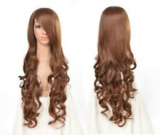 parrucca false capelli lunghe ondulato marrone 80 cm Long Curly Waves Cosplay
