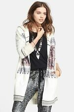 Free People Apline Escape Intarsia Print Knit Zipper Sweater Coat Jacket $300+!