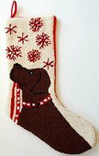 "Chocolate Labrador Retriever Snowflake Leash Hook Christmas Stocking  13"" x 21"""