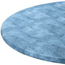 """Blue Marbled Round Elasticized Tablecloth Table Cover Vinyl Fitted 40""""-44"""" New"""