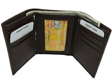 RFID Blocking Tri-fold Genuine Cow Hide Leather Wallet In Wallet Box
