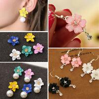 Bohemia Pearl Crystal Flowers Dangle Drop Ear Stud Earrings Jewelry For Women