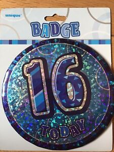 Blue 16 Today Holographic Jumbo Badge Happy Birthday. Pin It Or Stand It Up