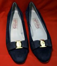 Pappagallo - Classic Suede Leather Low Heels Ribon Bow Pumps - Size 7 / Black