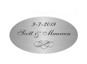 """PERSONALIZED 2.5"""" x 1.75"""" OVAL SILVER PLATE PLAQUE CUSTOM ENGRAVED MEMORIAL"""