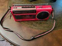 Sharp QT-17 (R) Boombox Portable FM AM Radio Cassette Deck - Red