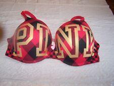 Victorias Secret PINK Wear Everywhere Push-Up Underwire Bra 34DD Red& Black GEO'