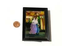 Antique Edwardian Handpainted Butterfly Picture Two Ladies in Original Frame *