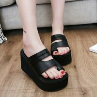 Womens High Wedge Heel Platform Open toe PU Leather Casual Slippers Shoes Sandal