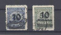 Dt. Reich Mi.Nr. 335-36 B aus Freimarken 1923 gestempelt, geprüft Infla (32279)