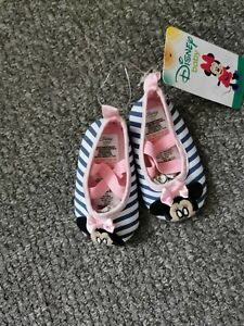 Primark Baby Girl Shoes 6-9 Months Minnie Mouse Pram shoes striped