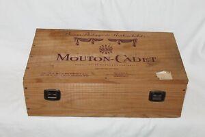 Baron Philippe de Rothschild Mouton Cadet - 2 Wine Bottle Wooden Box ONLY France