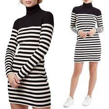 NWT Topshop Black & White Striped Turtleneck Long Sleeve Dress, Sz 10