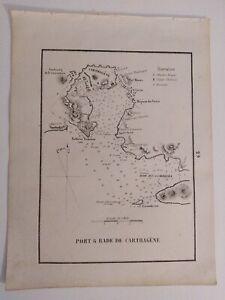 1858 Gauttier Carta Náutica Mapa Plano Puerto Bahia de Cartagena Murcia
