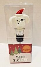 New White Dog Head Christmas Light Up Wine Stopper Blinking Color Changing