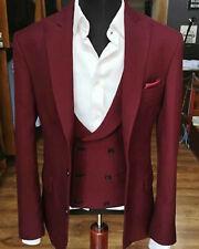 Men Maroon Suits Designer Wedding Stylish Dinner Suits (Coat+Vest+Pants) CA
