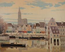 """Michel Delacroix """" La Cathedrale de Strasbourg """" Original Lithograph S/N"""