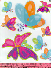 FLUTTERING BUTTERFLIES wall stickers 16 colorful decals insect nursery decor