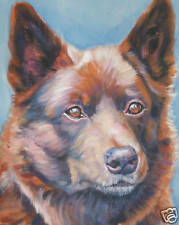 Australian KELPIE canvas art PRINT of LAShepard painting dog LSHEP 8x10